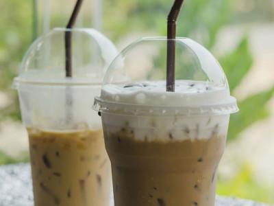 Drinking coffee through a straw